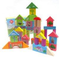 Candice Guo Hot Sale In The Night Garden Series Baby Wooden Blocks 50 Pcs 1 Set
