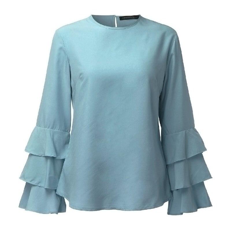 Zanzea kobiety bluzki koszule 2017 jesień eleganckie panie o-neck falbanką długim rękawem stałe blusas casual loose tops 13