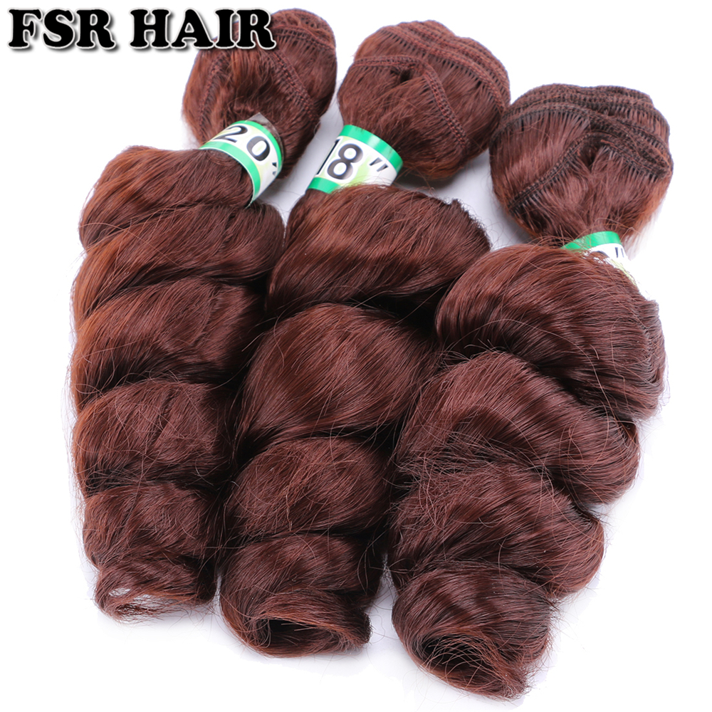 Image 3 - FSR 16 18 20 Inch 3 pcs/lot loose wave hair Weaving 613# double weft Synthetic hair ExtensionsSynthetic Weave   -