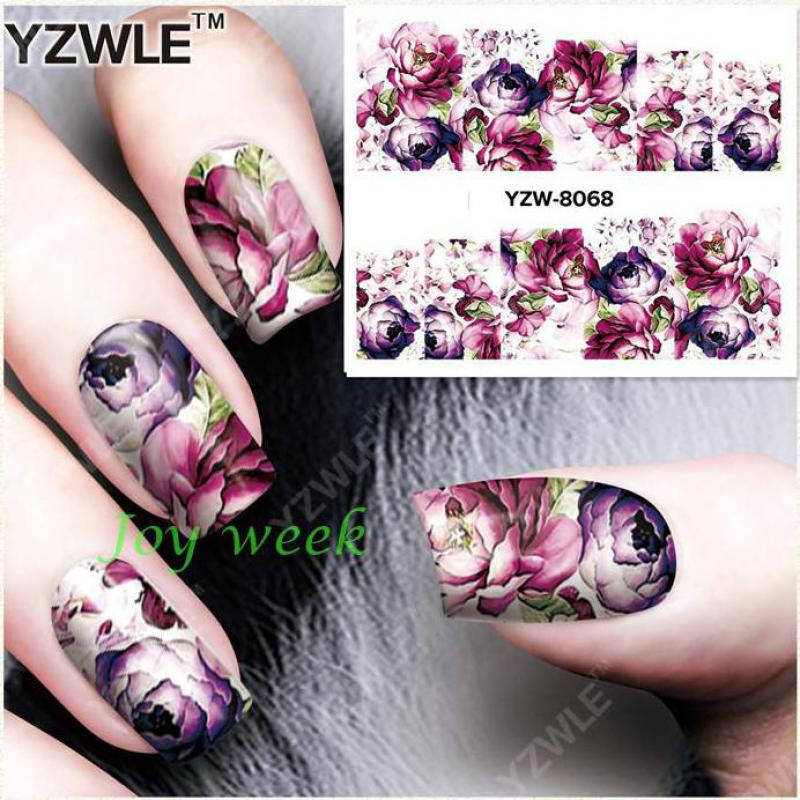Water sticker for nails art decorations sliders purple flowers peony rose stickers adhesive nail design all decals accessoires 4 nail art sticker and decals water transfer adhesive nails decoration nail art fingernail decorations nails stickers