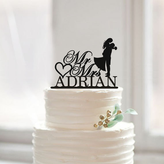 Modern Wedding Cake Topper, Novia y novio Silhouette Cake Topper, Mr - Para fiestas y celebraciones - foto 2