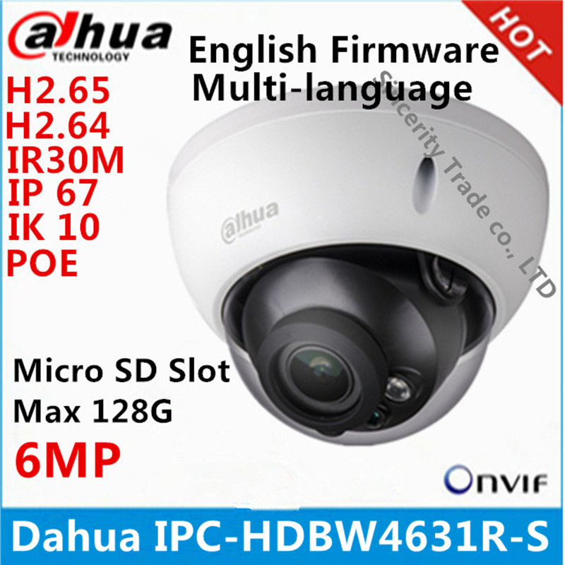 Dahua IPC-HDBW4631R-S 6MP IP Camera IK10 IP67 IR30M built-in POE SD slot cctv camera HDBW4631R-S multi-languag firmware slip-on shoe