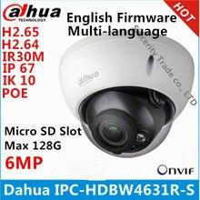 داهوا IPC HDBW4631R S 6MP IP كاميرا IK10 IP67 IR30M المدمج في بو SD فتحة كاميرا تلفزيونات الدوائر المغلقة HDBW4631R S متعدد اللغات الثابتة