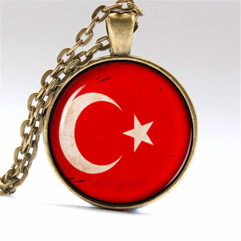 Diy Jewelry Cabochons Resine Necklace Photo Turkey Flag Glass Dome Pendant Silver & Bronze Chain Necklaces