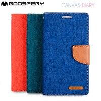 Оригинальный Mercury Goospery Чехол-бумажник из плотной ткани дневник откидная крышка для Samsung Galaxy J1 J2 J3 J5 J7 A3 A5 A7 A8 A9 2016 2017 PRIME