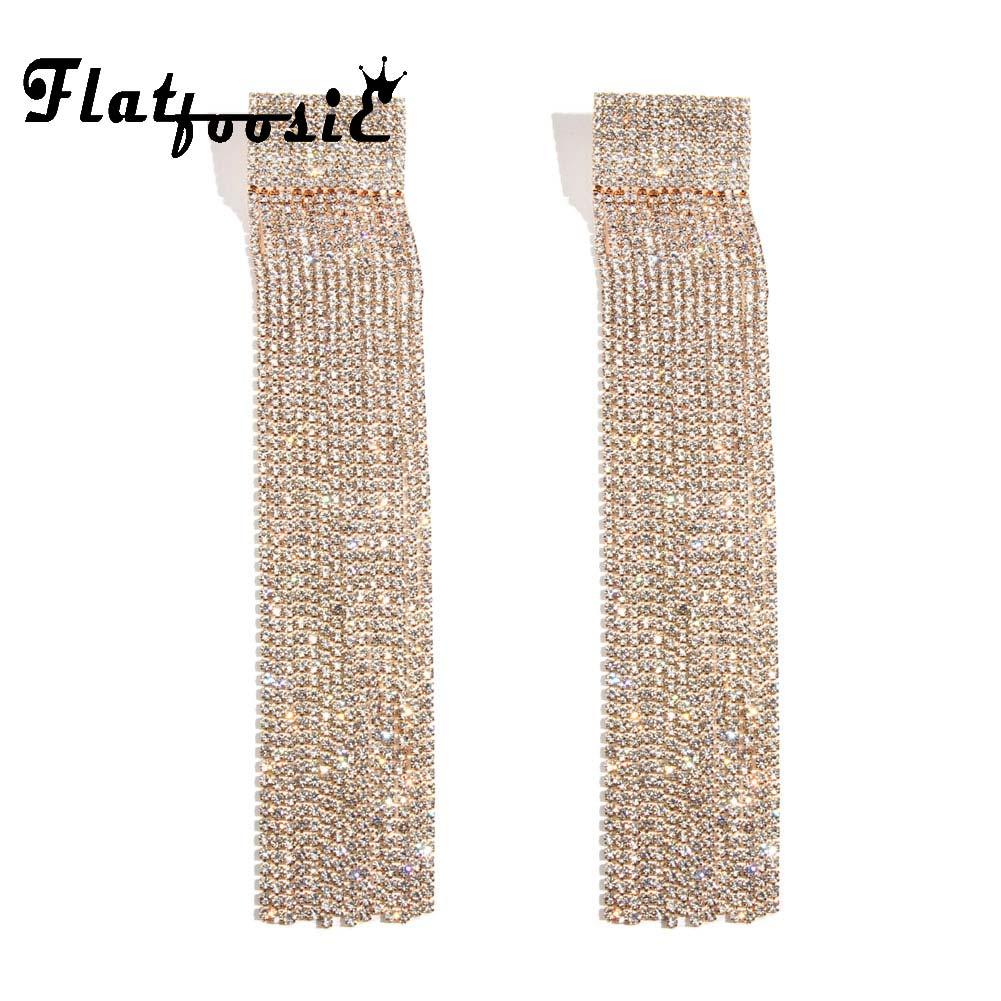 Flatfoosie Tassel Crystal Long Stud Earrings 2018 Fashion Gold Silver Color Hanging Chain Bride Earring For Women Party Wedding