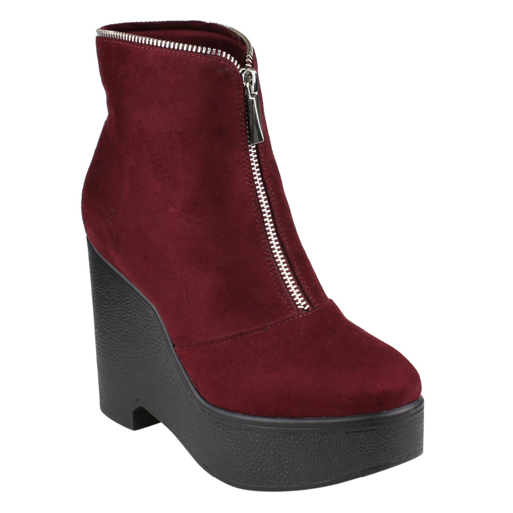 19808cbae0b EJ30 Women s Fashion Front Zipper Platform Wedge Ankle Booties-in Ankle  Boots from Shoes on Aliexpress.com