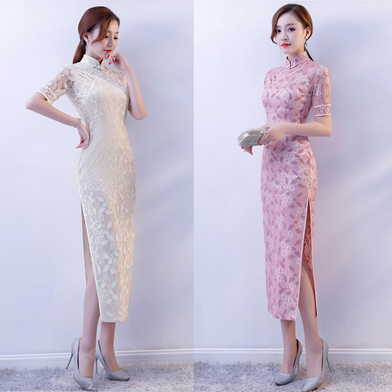 New Arrival women long qipao chinese cheongsam traditional elegant vintage yellow lace hollowout oriental dresses Plus Size 3XL