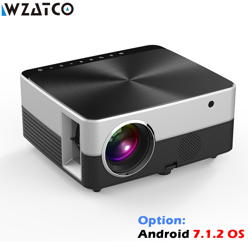 WZATCO M5 MINI Projector Android 7.1.2 Optional HDMI USB VGA LED Portable Projector WIFI Bluetooth Home Theatre HD Projector poner saund dlp100w pocket hd portable dlp projector micro wireless multi screen mini led battery hdmi usb portable home cinema