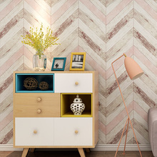 Retro Nordic style Imitation wood grain wallpaper Fashion TV background wall decoration Bedroom Non-woven flocking