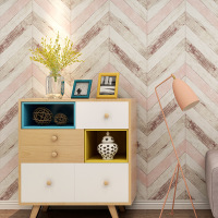 Retro Nordic style Imitation wood grain wallpaper Fashion TV background wall decoration Bedroom Non woven flocking wallpaper