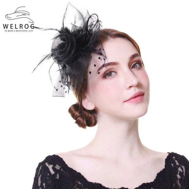 b59ed6b3 WELROG Ladies Royal Fascinators Wedding Races Sinamay Cocktail Fascinator  Women Veil Mesh Feather Hat Party Fedora Cap