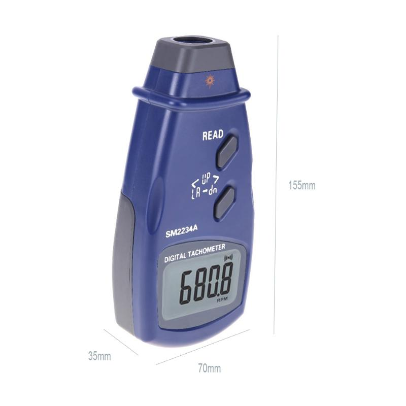 Mini Tachometer Optoelectronic LCD Display Digital Photo Laser Contact 5 Counts RPM Tachometer Meter