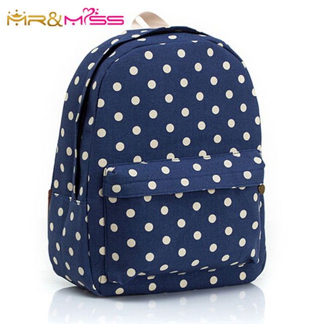 f104b332b3 2015 new blue color white dots print light canvas backpack women shoulder  bags fresh girls travel bags school bag for teenagers