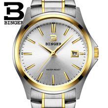 2016 Suiza de relojes de lujo BINGER cuarzo de la marca completa de acero inoxidable Relojes de los hombres A Prueba de agua Calendario Completo Garantía B3052A9