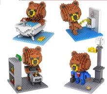 Loz gruond diamond building blocks minifigures cartoon rilakkuma Brown bear toys for children plastic insert blocks toy models