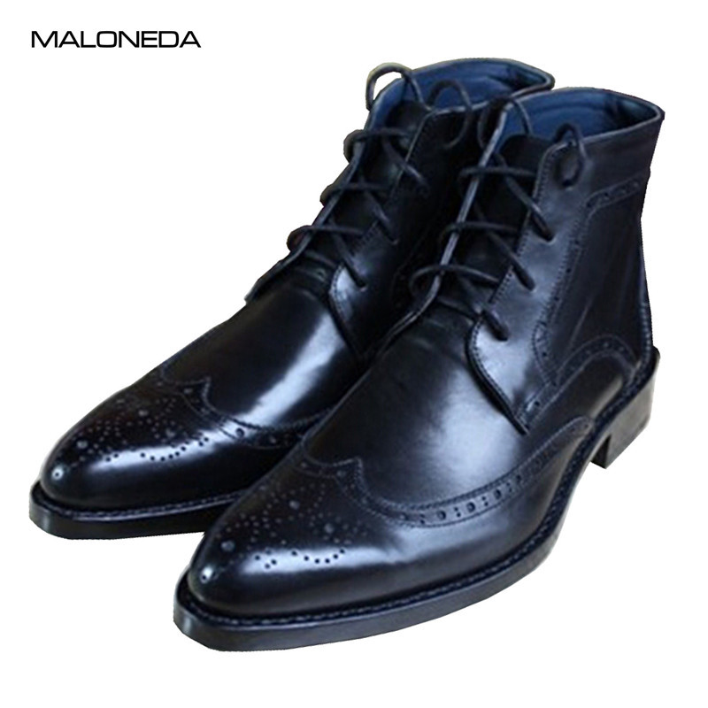 MALONEDA Custom Leather Sole Boots Black Brogue Mens Dress Boots Goodyear Handmade Plus Size Shoes maloneda custom made genuine leather blue color dress shoes handmade goodyear welted lace up mens oxford brogue shoe