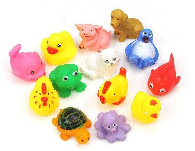 13 pz set bambino giocattoli da bagno anatra di gomma gialla bambini