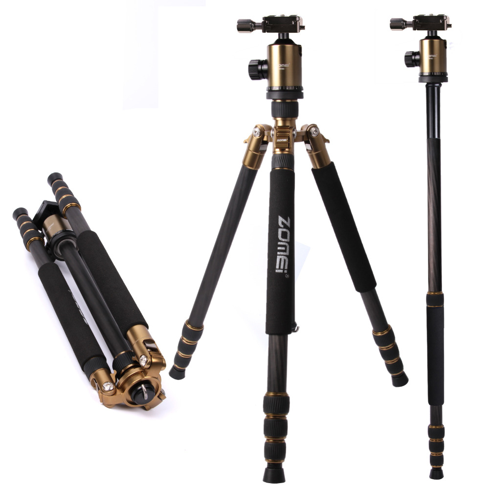 DHL Free Shipping Zomei Z818C Golden Carbon Fiber Tripod Monopod For DSLR Camera & Ball Head Quick Release Plate With Case ashanks carbon fiber camera monopod 705b professional 34 2mm foot tube diameter with monopod head free shipping