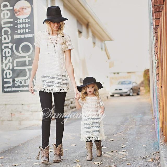 Niñas vestido de madre e hija a juego de ropa de verano 2017 de encaje moda vestidos de madre e hija familia clothing trajes a juego