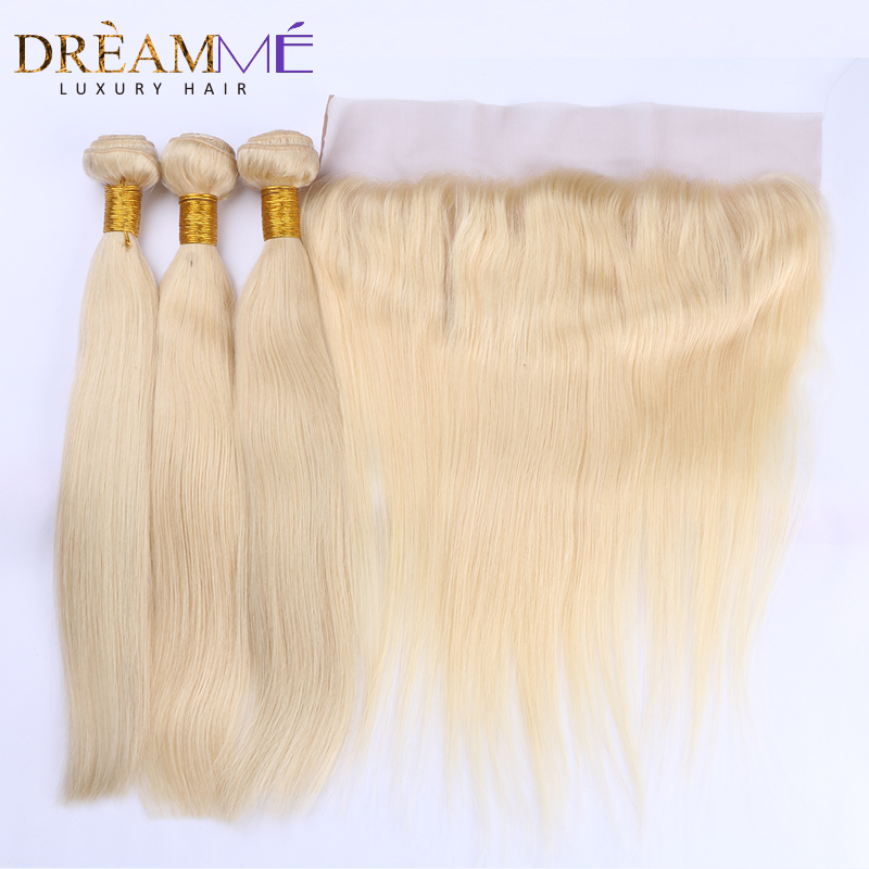 Brazilian Straight Human Hair 3 Bundles With 13x4 Lace Frontal Non Remy Hair 613 Blonde Extensions