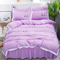 Violet Cats Princess style bedclothes Microfiber Towel embroidery Duvet Cover Twin Full Queen Bedding Sets bed skirt Pillowcases