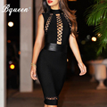 Bqueen 2017 nuevo sin mangas negro hollow out lace-up sexy delgado del vendaje de bodycon dress runway celebrity vestidos de partido de coctel