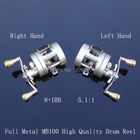 High Quality Full Metal Casting Drum Reel MB100 9BB 5 1 1 Trolling Wheel Left Hand