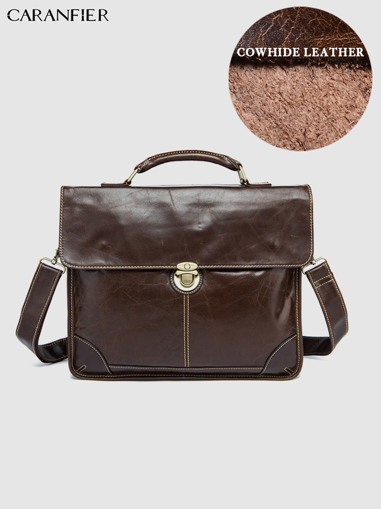 Caranfier mens 비즈니스 서류 가방 대용량 노트북 여행 가방 핸드백 정품 쇠가죽 채찍으로 치다 가죽 어깨 메신저 가방-에서서류 가방부터 수화물 & 가방 의  그룹 1