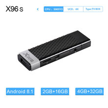 X96S Android 8.1 TV Stick Smart movies &  Quad Core Amlogic S905Y2 Wifi 4G RAM 32GB ROM Bluetooth 4.2 4K HD Smart PK TV Box