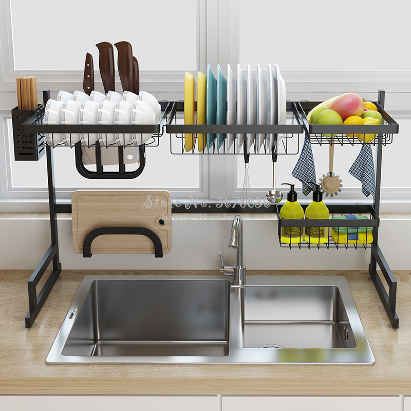 2 Layers Multi use Stainless Steel Dishes Rack Stready Sink Drain Rack Kitchen Oragnizer Rack Dish Shelf Sink Drying Rack Black