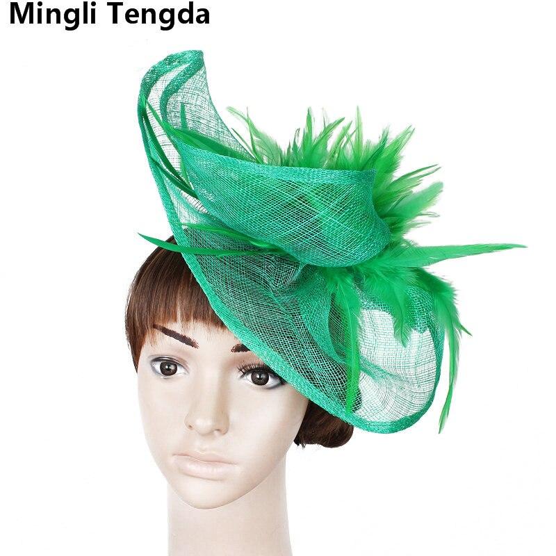 Mingli Tengda Red/Blue Wedding Hats For Women Elegant Ladies Hats For Weddings Wedding Decoration Tocado Novia 2018 Bridal Hats