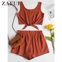 ZAFUL Two piece Women Set Beach Summer Button Up Sleeveless Crop Top and Elastic Waist Shorts Set Casual Women's Suits 2018
