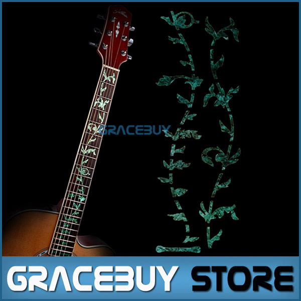 Tree Of Life Guitar Bass Fretboard Inlay Sticker Markers Green Color guitar or bass tree of life fretboard silver color inlay ultra thin sticker