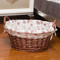 Handmade Wicker Oval laundry basket Large fabrics Toys Clothes Sundries Storage Basket with handle home organizer mx01221716