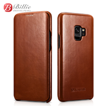 For Samsung Galaxy S9 S9+ Curved Edge Vintage Series Genuine Leather Case for Plus Phone Protective Cover