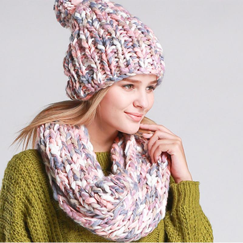 Winter Knitted Skullies Beanies Knit Crochet Cap For Women Warm