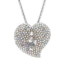 2017 Стильный Кулон Ожерелье Женщины Дамы Vintage Посеребренная Rhinestone Сердца Девушки Длинные Цепи