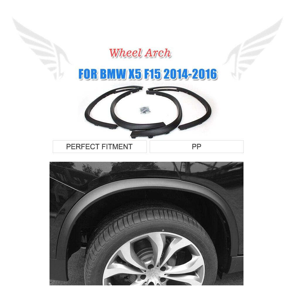 4PCS/set PP Black car fender flares for BMW F15 X5 2014-2016 Wheel Arch Molding Trims hot car styling cob cars headlight led h4 h1 h7 h8 h9 h11 9005 9006 880 881 36w 8000lm 6000k led headlamp kit drl fog lamp bulbs