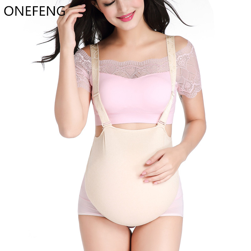 ONEFENG Silicone Belly Fake Pregnant Belly Cloth Bag Style for Man Woman Actor Lifelike 1000 1500g