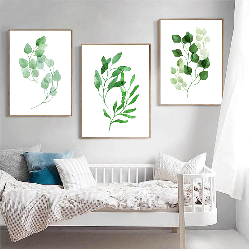 BALLEAY ART Plant Green Leaves Canvas Painting Art Print Poster Picture Wall Modern Minimalist Bedroom Living Room Decoration