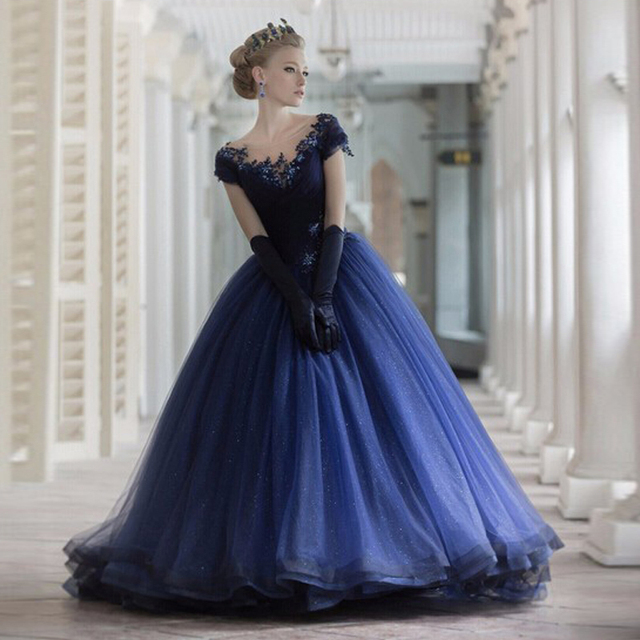 Elegant Navy Blue Evening Dress Ball Gown Prom Dresses 2017 New ...