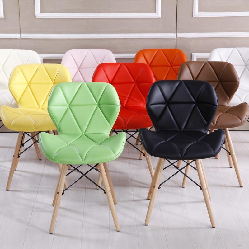Bright Color Ergonomic Wooden Leisure Dinning Chair Art Office Chair Party Restaurant Bureaustoel Ergonomisch Cadeira Simple