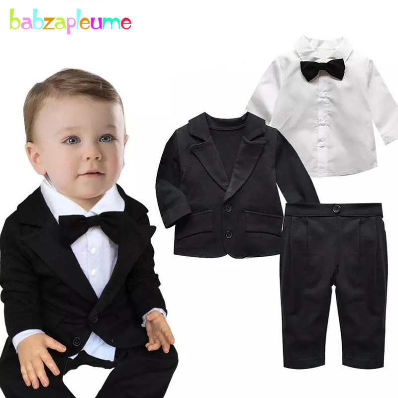 3PCS/0-24Months/Spring Autumn Baby Outfit Boys Clothes Gentleman Suit Black Jacket+White Shirt+Pants Newborn Clothing Set BC1018
