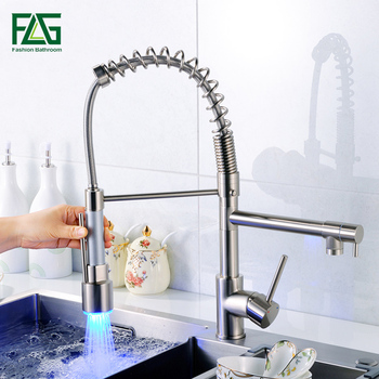 цена на FLG Nickel Brushed Pull Out LED Kitchen Faucet, Single Hole Double Spout Kitchen sink Mixer Taps, rubinetto cucina