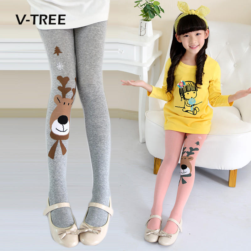V-TREE Baby Tights For Girls Elastic Girls Tights Christmas Clothing Girls Stockings Child Pantyhose Autumn Winter 2-9 Year rib knit tights