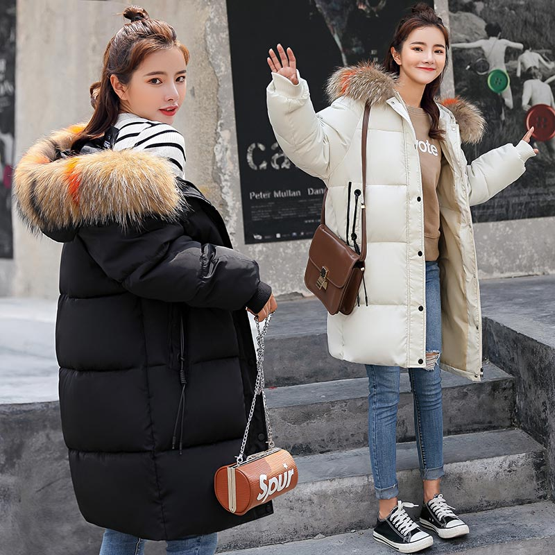 2018 new Winter Jacket Women Long Parkas New Warm Wear Down Cotton Artificial Fur Collar Woman Coat winter coat