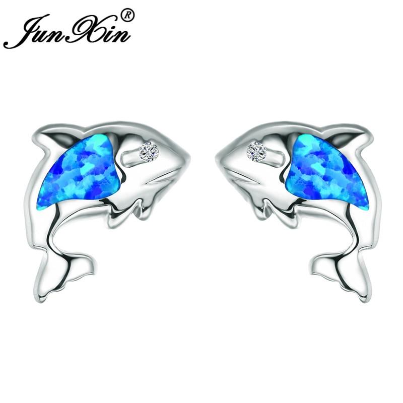 JUNXIN Ocean Blue Fire Opal Fish Stud Earrings For Women White Gold Filled Animal Earrings Zircon Rainbow Birthstone Ear Studs