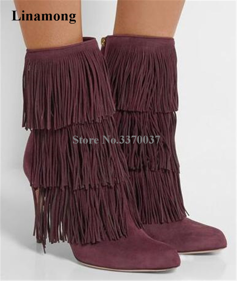Top Brand Women Fashion Round Toe Suede Leather Tassels Thin Heel Short Boots Zipper-up Charming Fringes High Heel Ankle BootsTop Brand Women Fashion Round Toe Suede Leather Tassels Thin Heel Short Boots Zipper-up Charming Fringes High Heel Ankle Boots