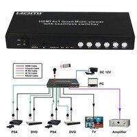 HDMI Immagine Divisione 4-by Quad Multi-Viewer switcher senza soluzione di continuità Multi viewer PIP Converter 4X1 Switch A 4 Porte + IR Remote RS232